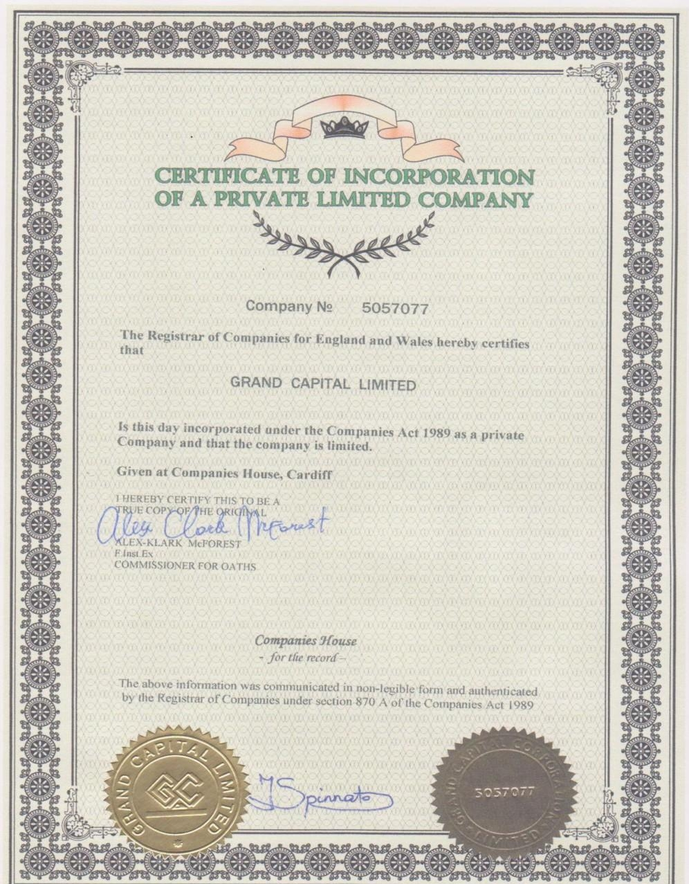 2.8. Certificate of Incorporation of Private Limited Company Company # 5057077