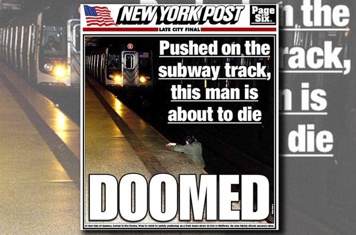 the new york post: pushed on the subway track essay The new york post is facing criticism over its decision to publish a front-page photo of a man, pushed onto the subway tracks in midtown on monday, trying to climb to safety before being fatally.
