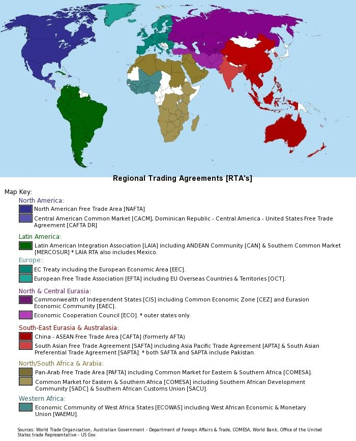 Gucume Wto Free Trade Agreements Map 819110491 2018