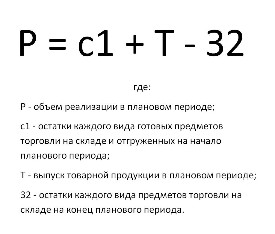 формула выражающая объем реализации